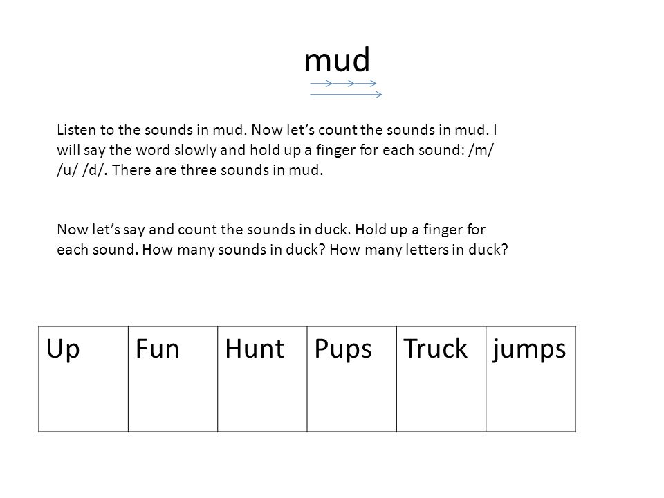 mud Listen to the sounds in mud. Now lets count the sounds in mud.