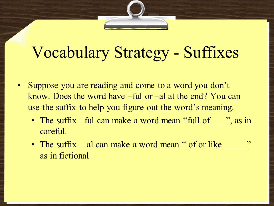 Vocabulary Strategy - Suffixes Suppose you are reading and come to a word you dont know.