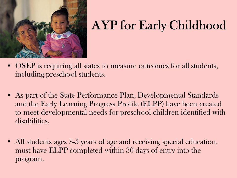 AYP for Early Childhood OSEP is requiring all states to measure outcomes for all students, including preschool students. As part of the State Performa