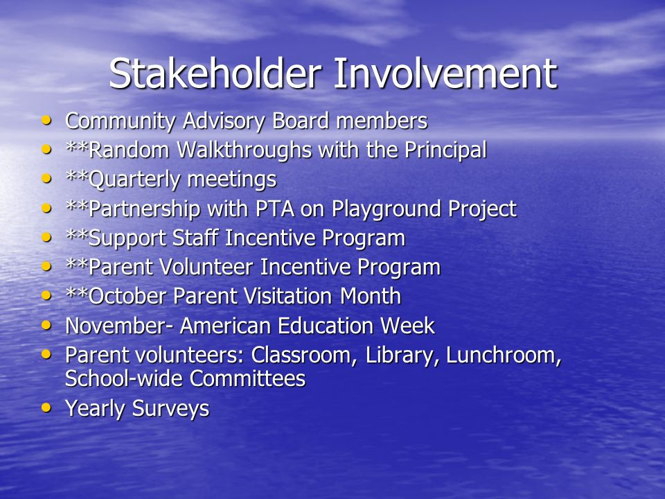 Stakeholder Involvement Community Advisory Board members Community Advisory Board members **Random Walkthroughs with the Principal **Random Walkthroughs with the Principal **Quarterly meetings **Quarterly meetings **Partnership with PTA on Playground Project **Partnership with PTA on Playground Project **Support Staff Incentive Program **Support Staff Incentive Program **Parent Volunteer Incentive Program **Parent Volunteer Incentive Program **October Parent Visitation Month **October Parent Visitation Month November- American Education Week November- American Education Week Parent volunteers: Classroom, Library, Lunchroom, School-wide Committees Parent volunteers: Classroom, Library, Lunchroom, School-wide Committees Yearly Surveys Yearly Surveys