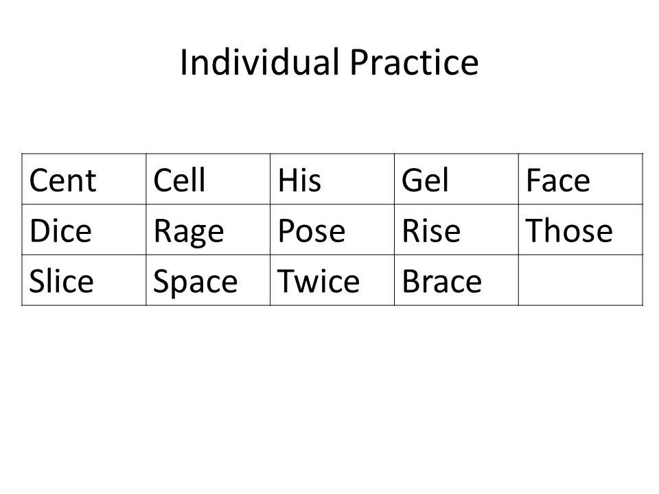 Individual Practice CentCellHisGelFace DiceRagePoseRiseThose SliceSpaceTwiceBrace