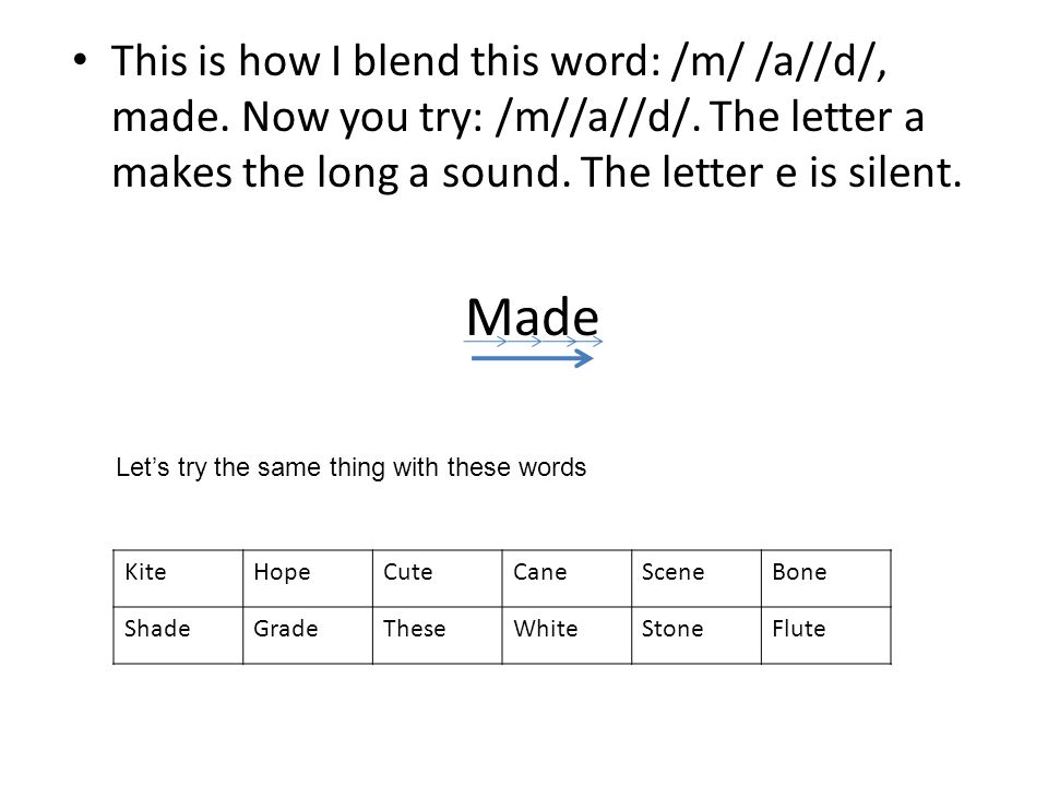 This is how I blend this word: /m/ /a//d/, made. Now you try: /m//a//d/. The letter a makes the long a sound. The letter e is silent. Made Lets try th
