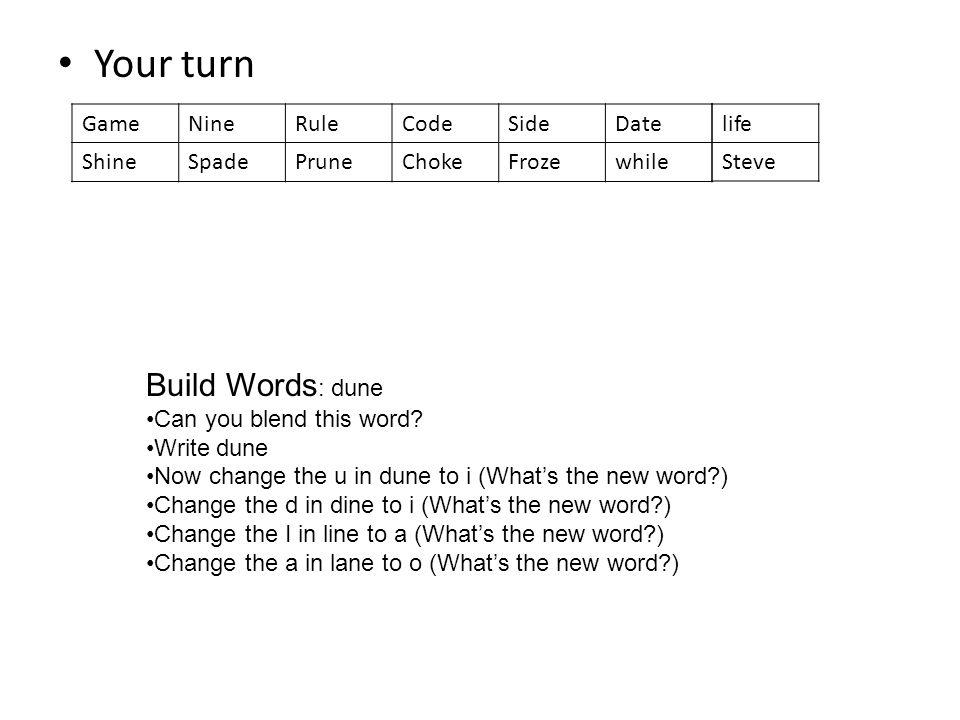 Your turn GameNineRuleCodeSideDate ShineSpadePruneChokeFrozewhile life Steve Build Words : dune Can you blend this word? Write dune Now change the u i
