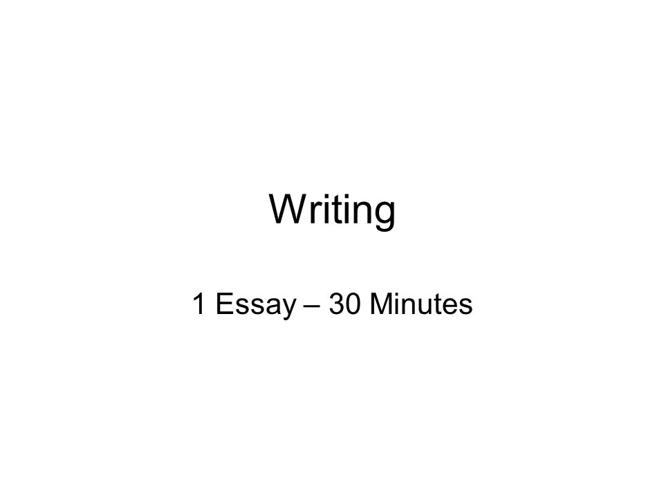 Writing 1 Essay – 30 Minutes