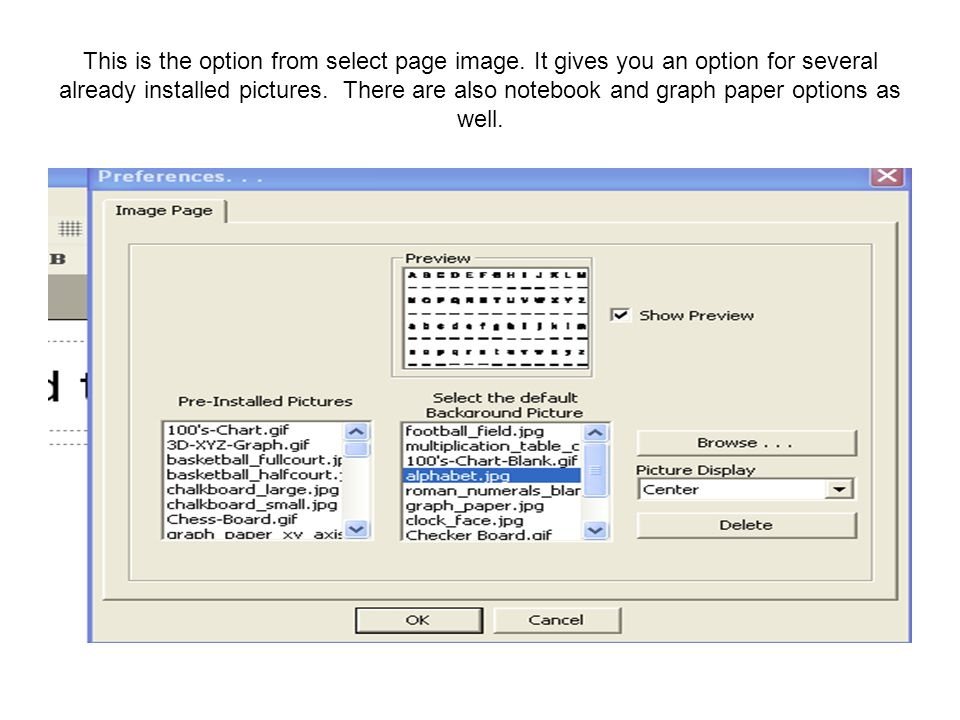 This is the option from select page image.