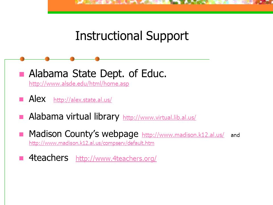 Instructional Support Alabama State Dept. of Educ.