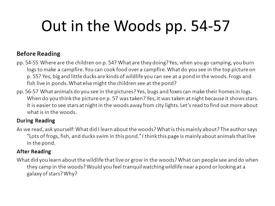 Out in the Woods pp. 54-57 Before Reading pp. 54-55 Where are the children on p. 54? What are they doing? Yes, when you go camping, you burn logs to m