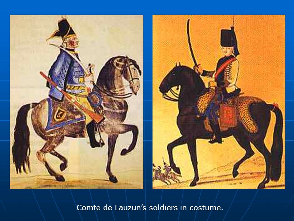 Comte de Lauzuns soldiers in costume.