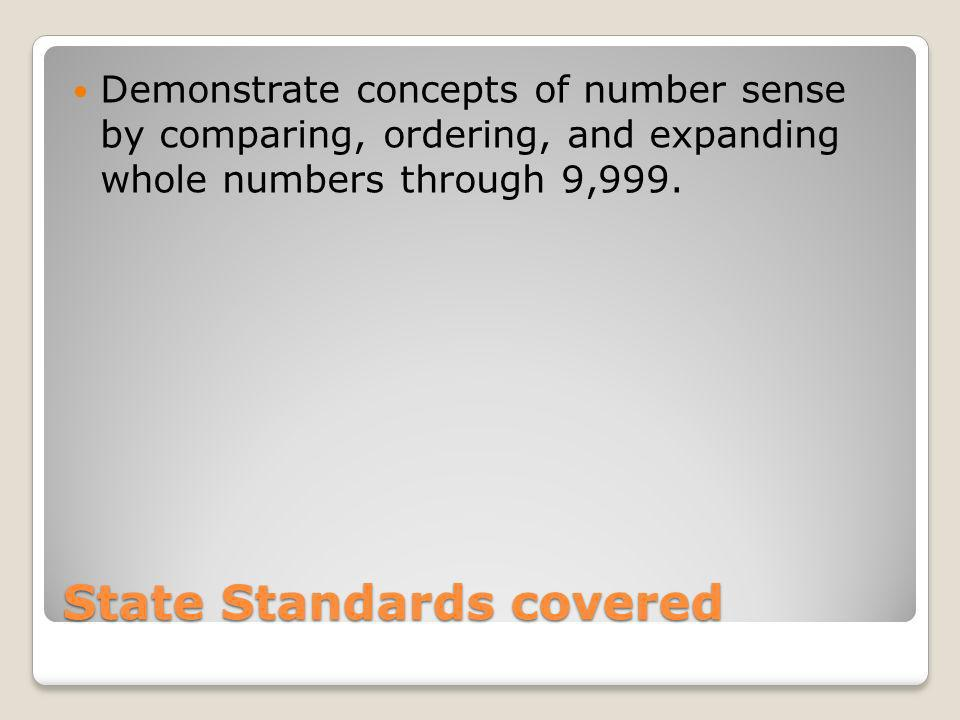 State Standards covered Demonstrate concepts of number sense by comparing, ordering, and expanding whole numbers through 9,999.