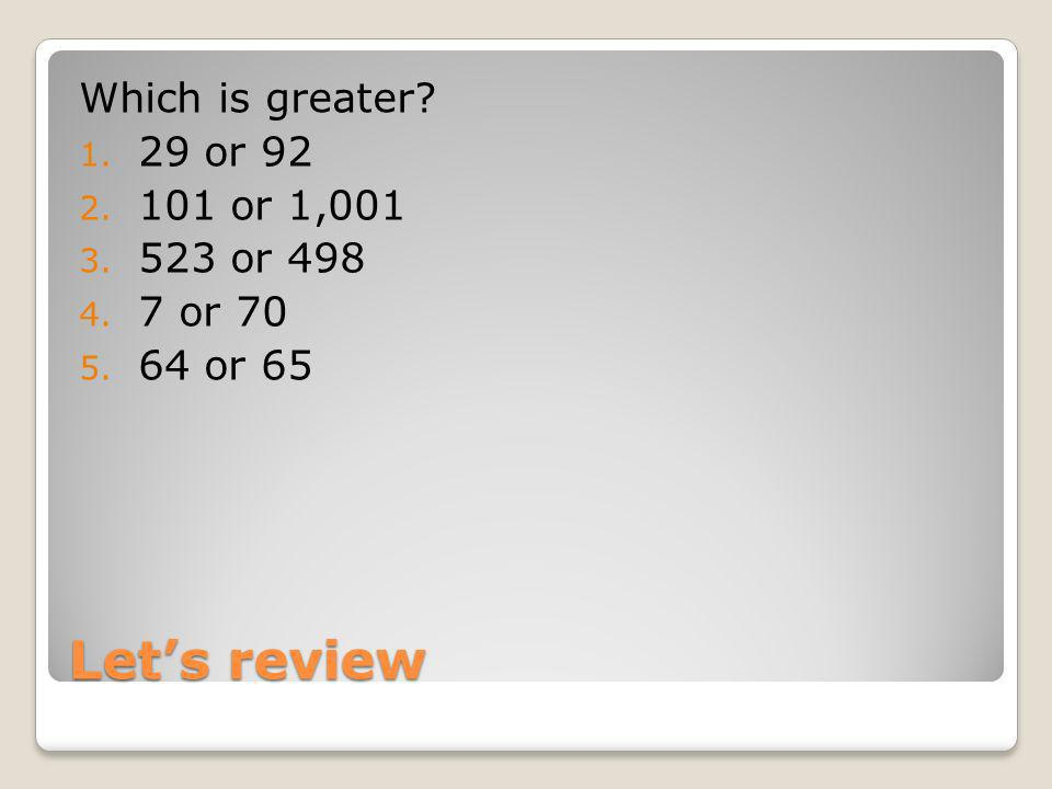 Lets review Which is greater? 1. 29 or 92 2. 101 or 1,001 3. 523 or 498 4. 7 or 70 5. 64 or 65