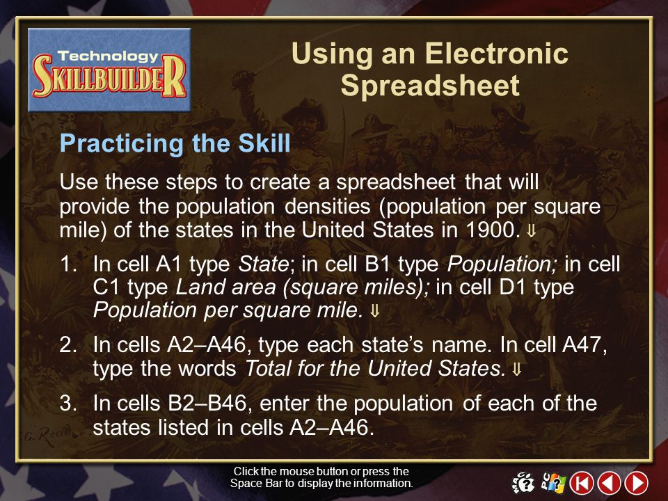 TECH Skill Builder 2 Learning the Skill A spreadsheet is an electronic worksheet that follows a basic design of rows and columns. Each column (vertica