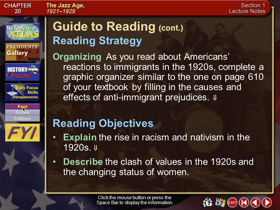 Section 1-1 Guide to Reading During the 1920s, clashes between traditional and modern values shook the United States. anarchist Main Idea Click the mo