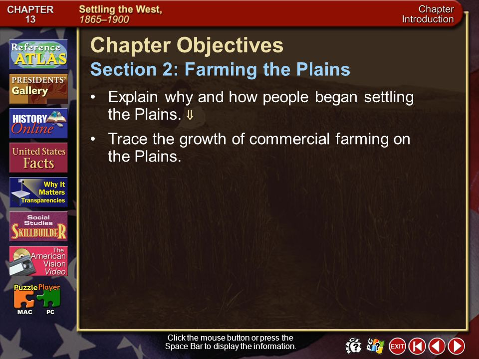 Section 2-11 (pages 422–423) The Wheat Belt Click the mouse button or press the Space Bar to display the information.