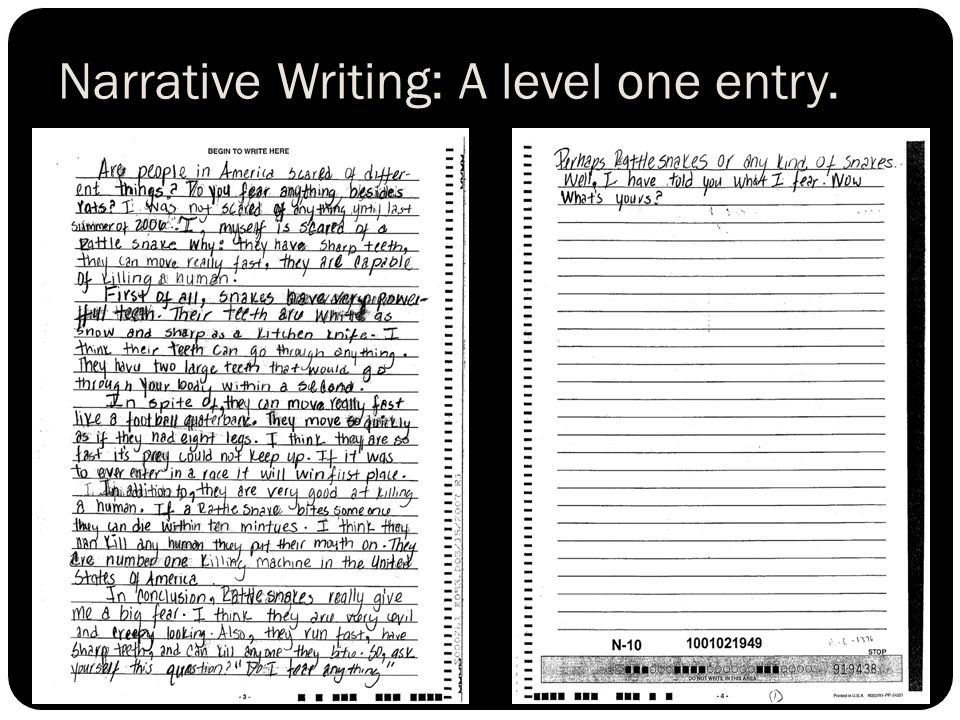 Narrative Writing: A level one entry.
