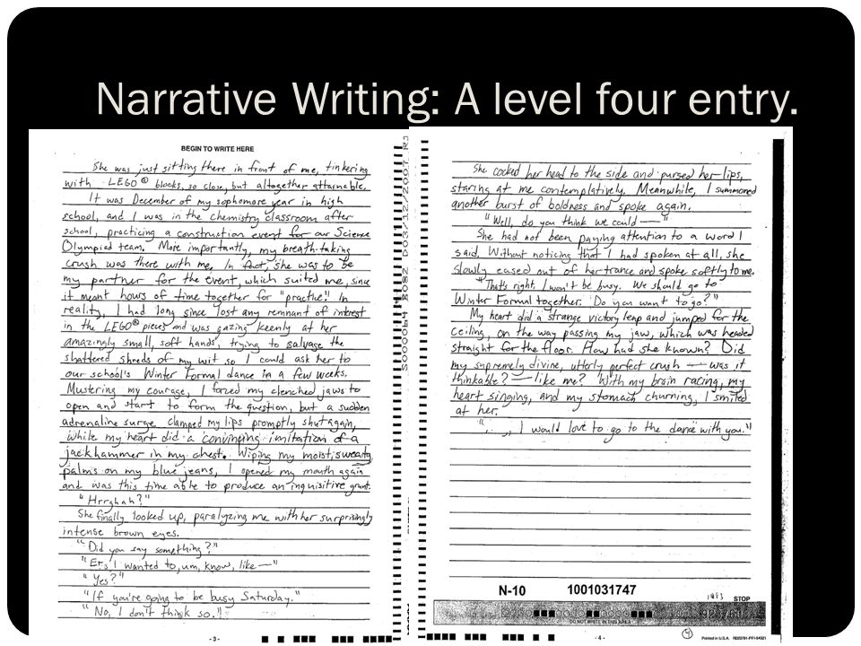 Narrative Writing: A level four entry.