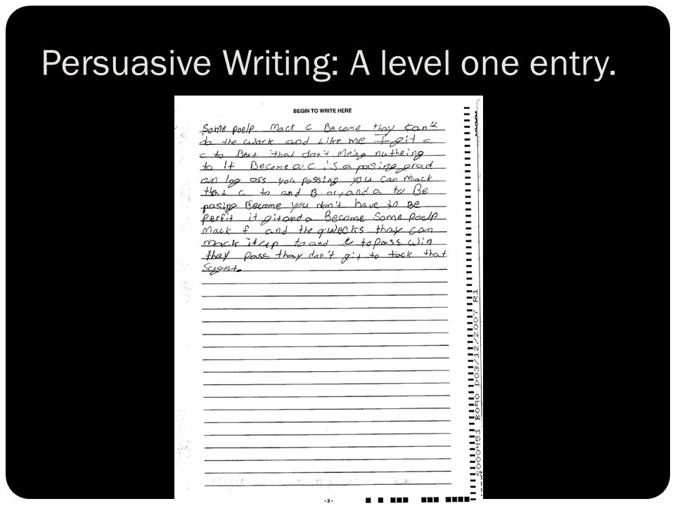 Persuasive Writing: A level one entry.