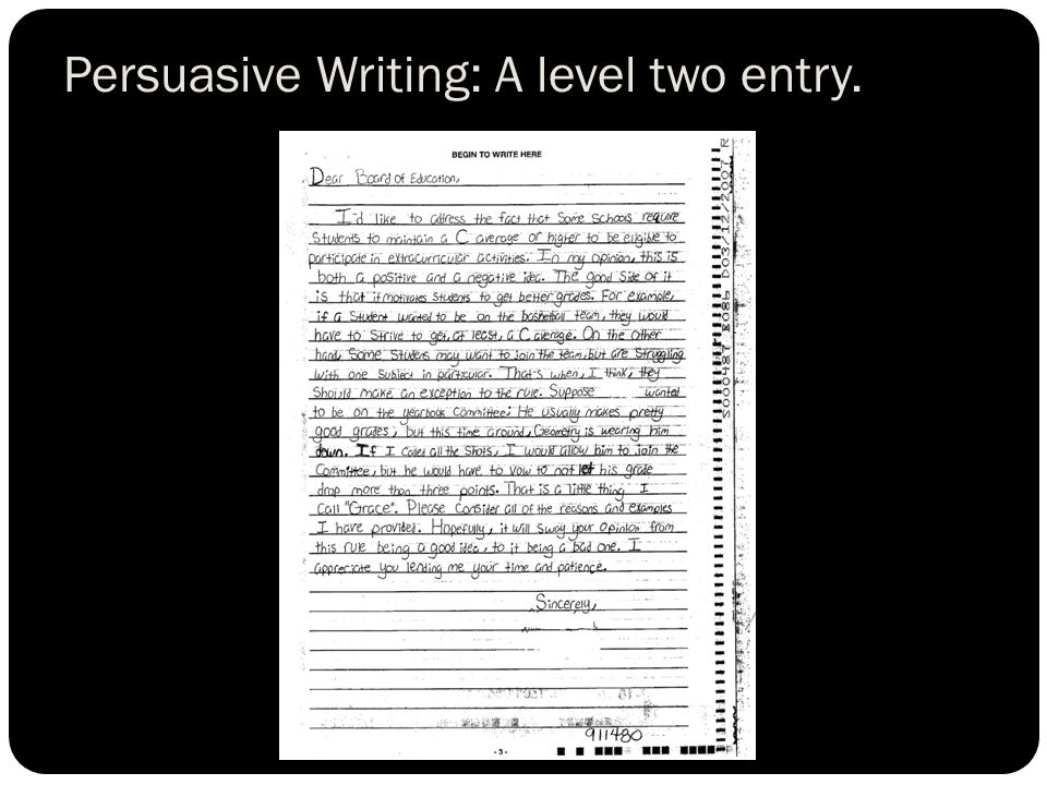 Persuasive Writing: A level two entry.