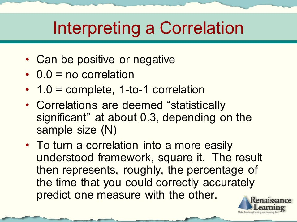 Interpreting a Correlation Can be positive or negative 0.0 = no correlation 1.0 = complete, 1-to-1 correlation Correlations are deemed statistically significant at about 0.3, depending on the sample size (N) To turn a correlation into a more easily understood framework, square it.