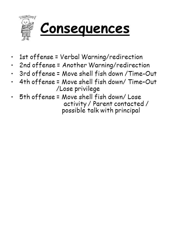 Consequences 1st offense = Verbal Warning/redirection 2nd offense = Another Warning/redirection 3rd offense = Move shell fish down /Time-Out 4th offen