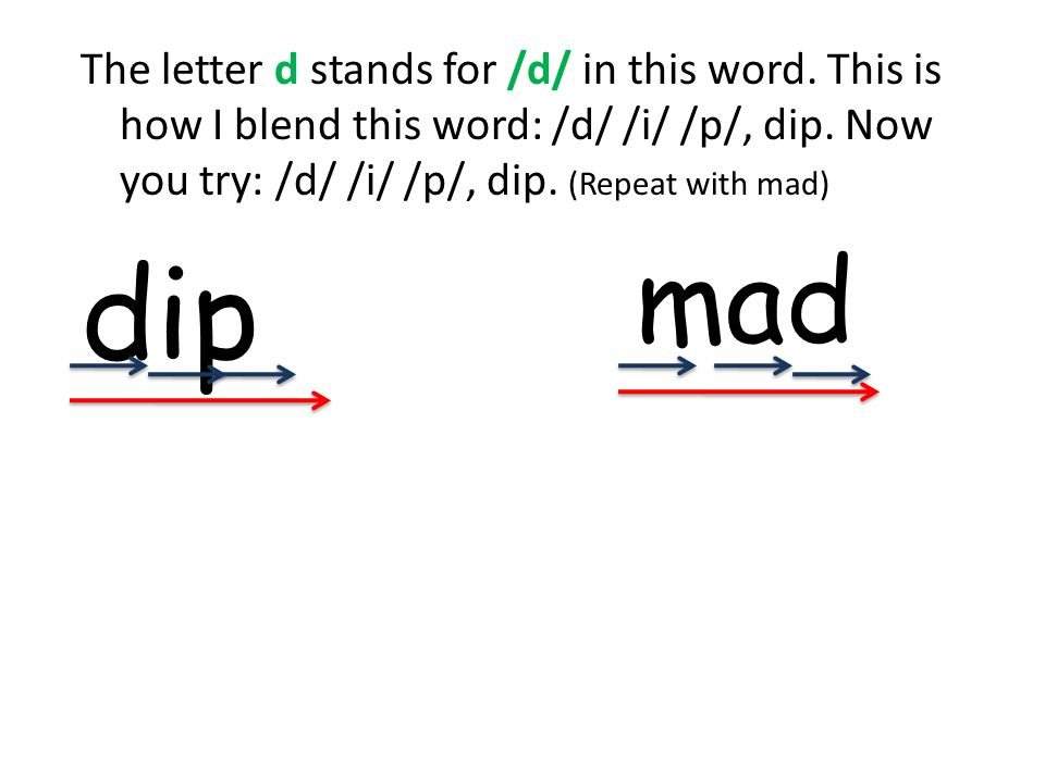 The letter d stands for /d/ in this word. This is how I blend this word: /d/ /i/ /p/, dip. Now you try: /d/ /i/ /p/, dip. (Repeat with mad) dip mad