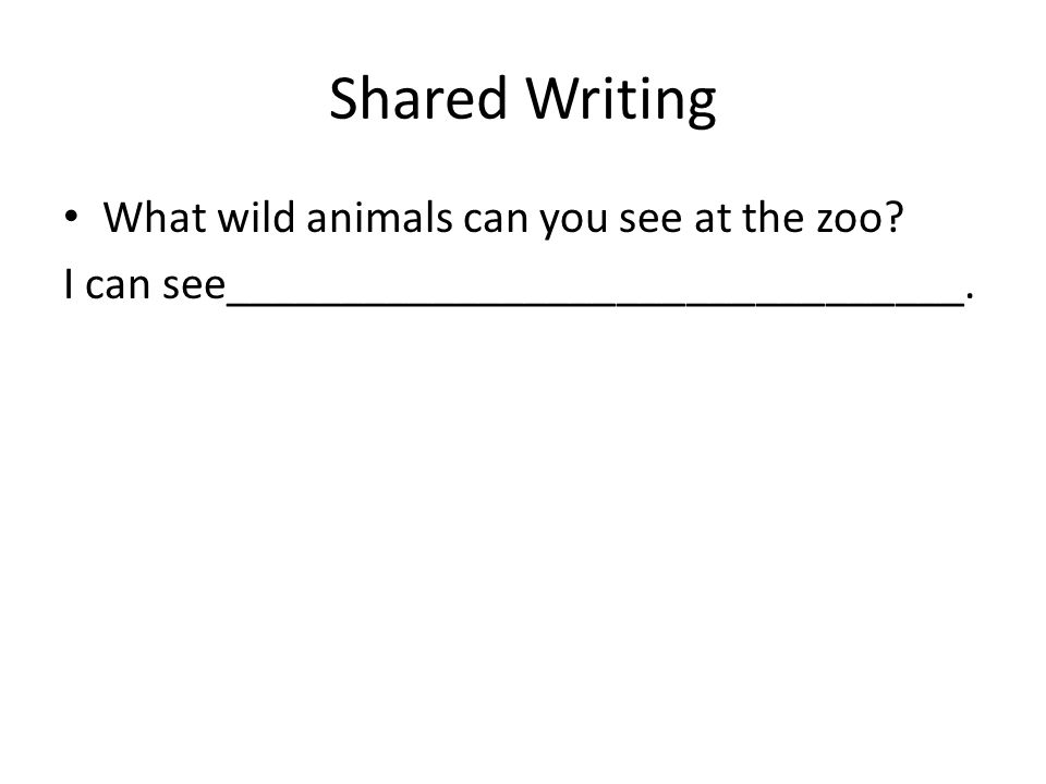 Shared Writing What wild animals can you see at the zoo? I can see________________________________.