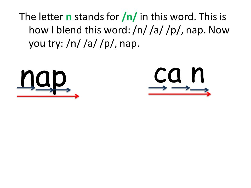 The letter n stands for /n/ in this word. This is how I blend this word: /n/ /a/ /p/, nap. Now you try: /n/ /a/ /p/, nap. nap ca n