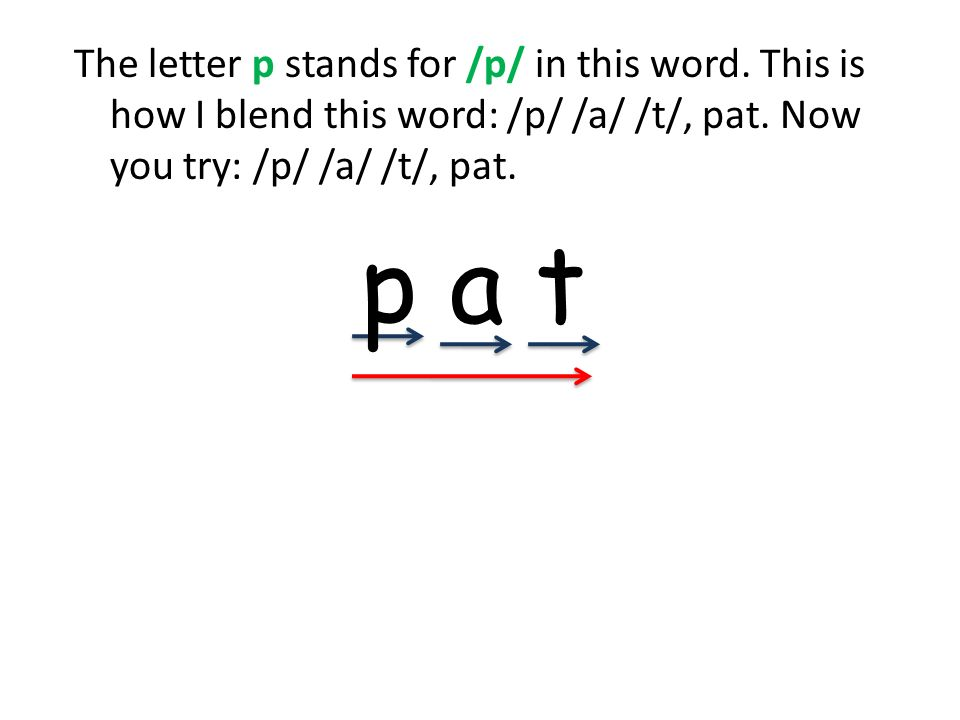 The letter p stands for /p/ in this word. This is how I blend this word: /p/ /a/ /t/, pat. Now you try: /p/ /a/ /t/, pat. p a t