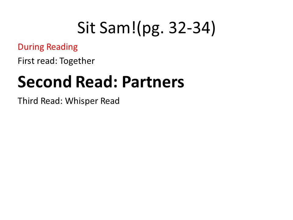 Sit Sam!(pg. 32-34) During Reading First read: Together Second Read: Partners Third Read: Whisper Read