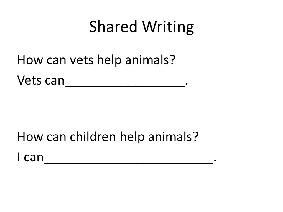 Shared Writing How can vets help animals? Vets can_________________. How can children help animals? I can________________________.