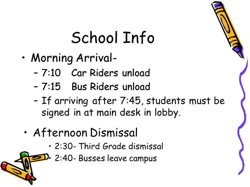 School Info Morning Arrival- –7:10Car Riders unload –7:15Bus Riders unload Morning Arrival- –7:10Car Riders unload –7:15Bus Riders unload –If arriving