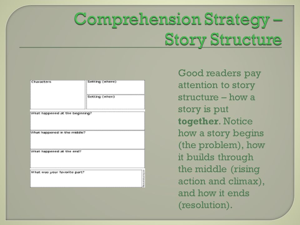 Good readers pay attention to story structure – how a story is put together. Notice how a story begins (the problem), how it builds through the middle