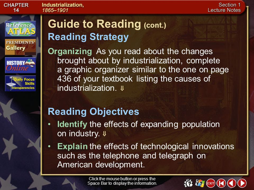 Section 1-1 Guide to Reading American industry grew rapidly after the Civil War, bringing revolutionary changes to American society. gross national pr