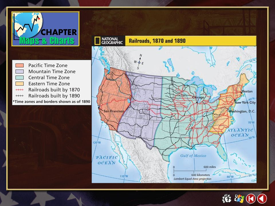 M/C 2-1 Railroads, 1870 and 1890 Miles of Track, 1870-1890 Click on a hyperlink to view the corresponding slide.