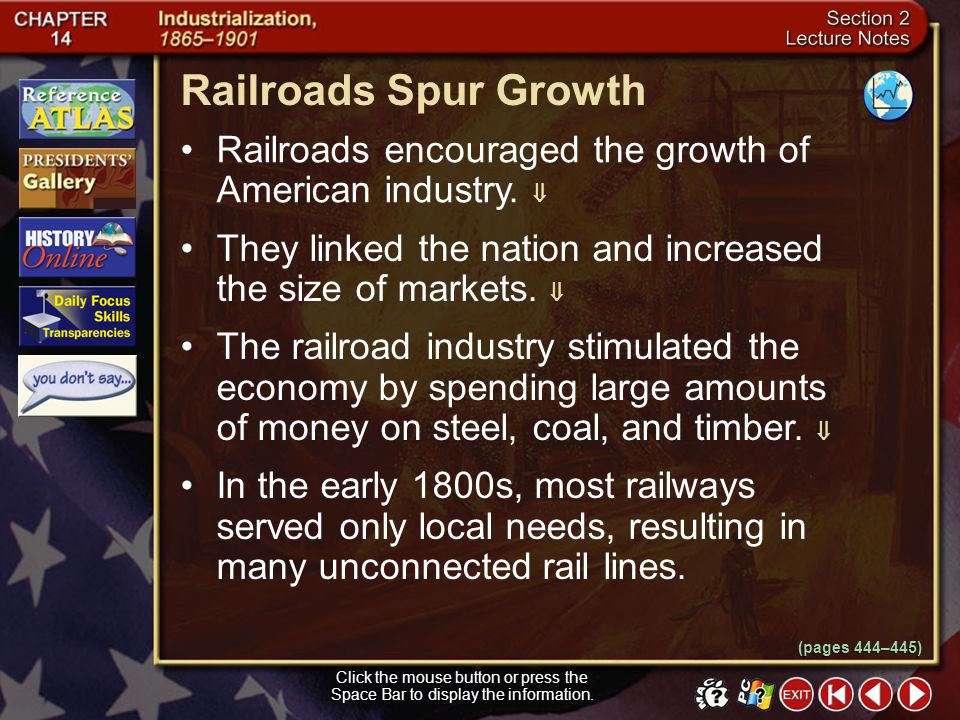 Section 2-8 How did the government encourage rapid construction of the railroads? The government offered each railroad company land. Competition occur