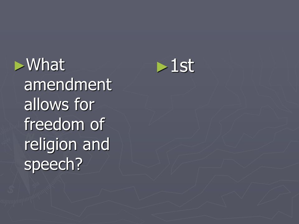 What amendment allows for freedom of religion and speech? What amendment allows for freedom of religion and speech? 1st