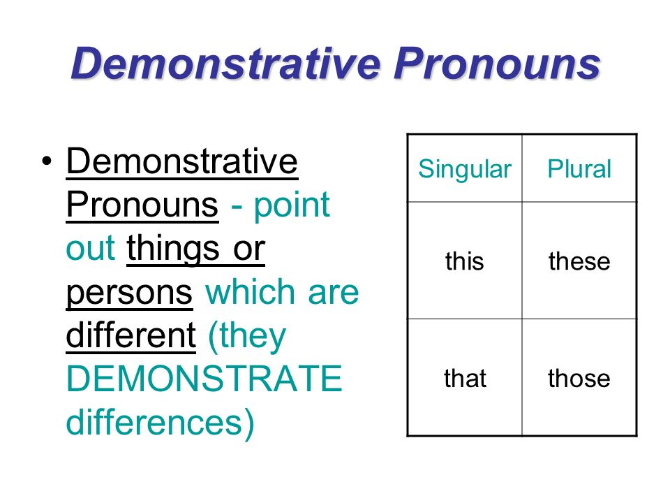 Demonstrative Pronouns Demonstrative Pronouns - point out things or persons which are different (they DEMONSTRATE differences) SingularPlural thisthes