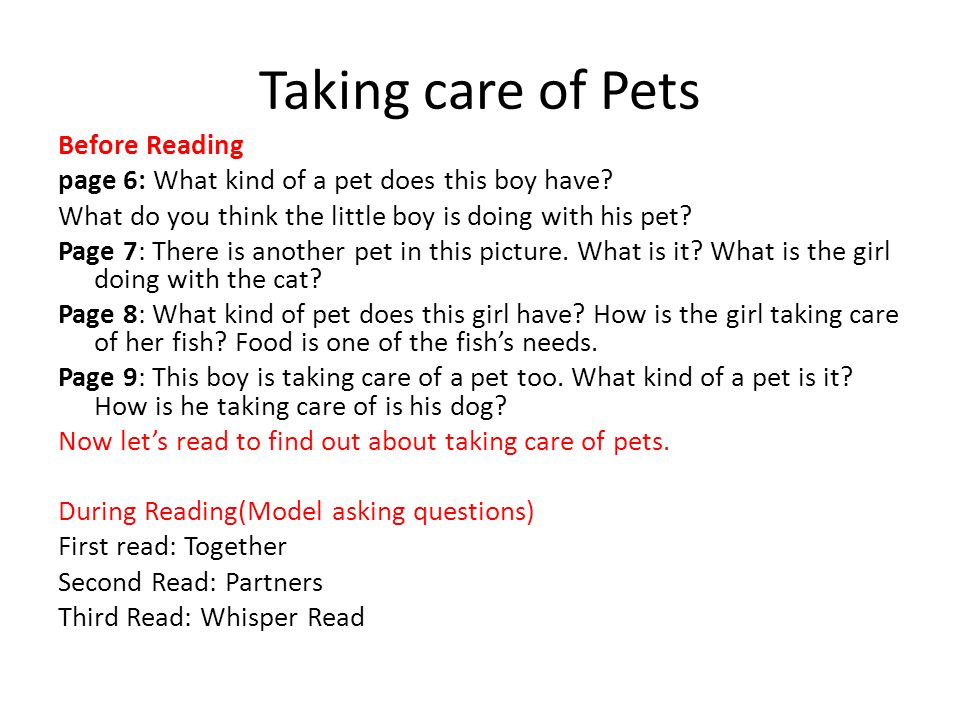 Taking care of Pets Before Reading page 6: What kind of a pet does this boy have? What do you think the little boy is doing with his pet? Page 7: Ther