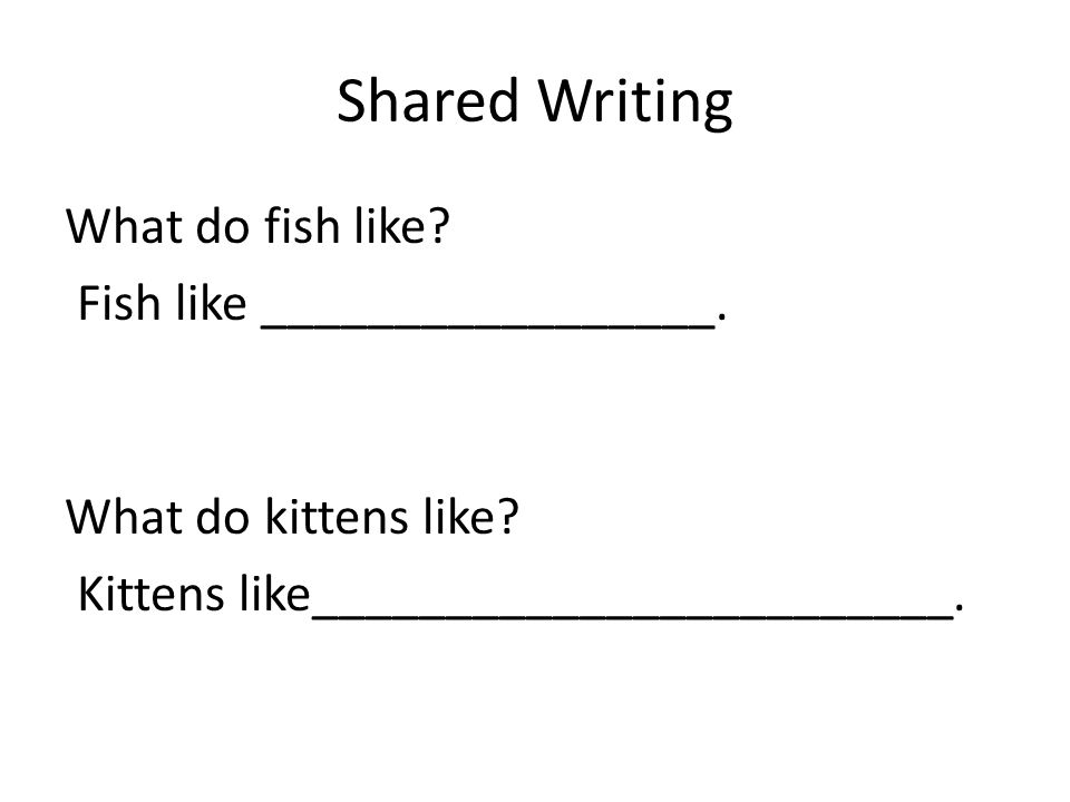 Shared Writing What do fish like? Fish like _________________. What do kittens like? Kittens like________________________.