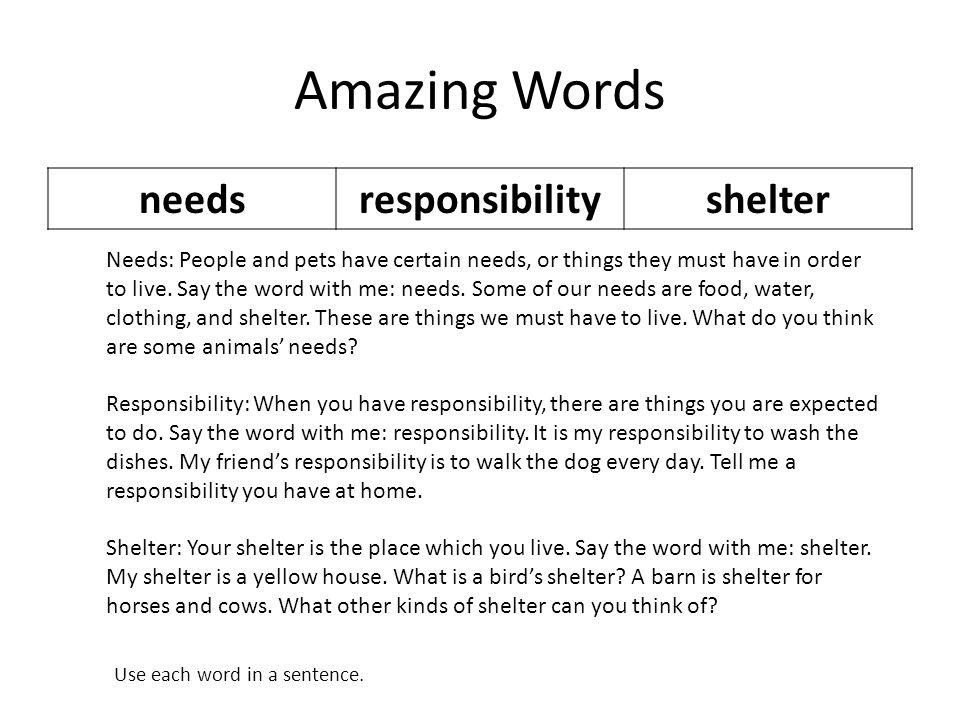 Amazing Words needsresponsibilityshelter Needs: People and pets have certain needs, or things they must have in order to live.