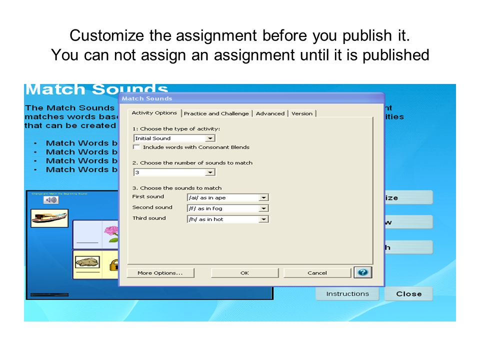 Customize the assignment before you publish it.