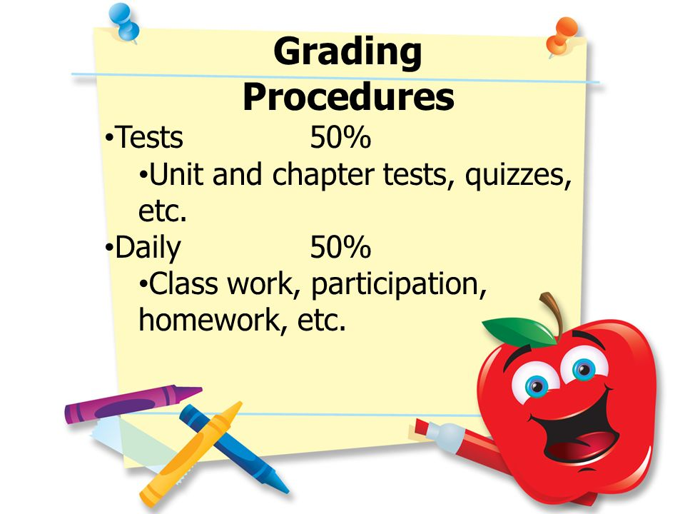 Grading Procedures Tests 50% Unit and chapter tests, quizzes, etc. Daily50% Class work, participation, homework, etc.