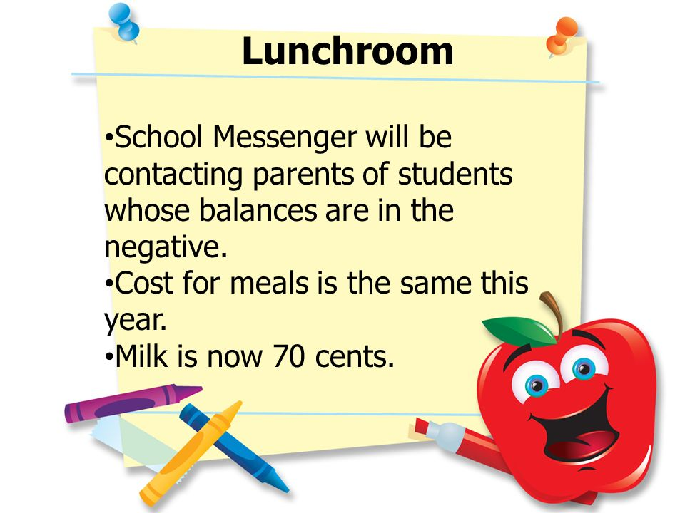 Lunchroom School Messenger will be contacting parents of students whose balances are in the negative. Cost for meals is the same this year. Milk is no