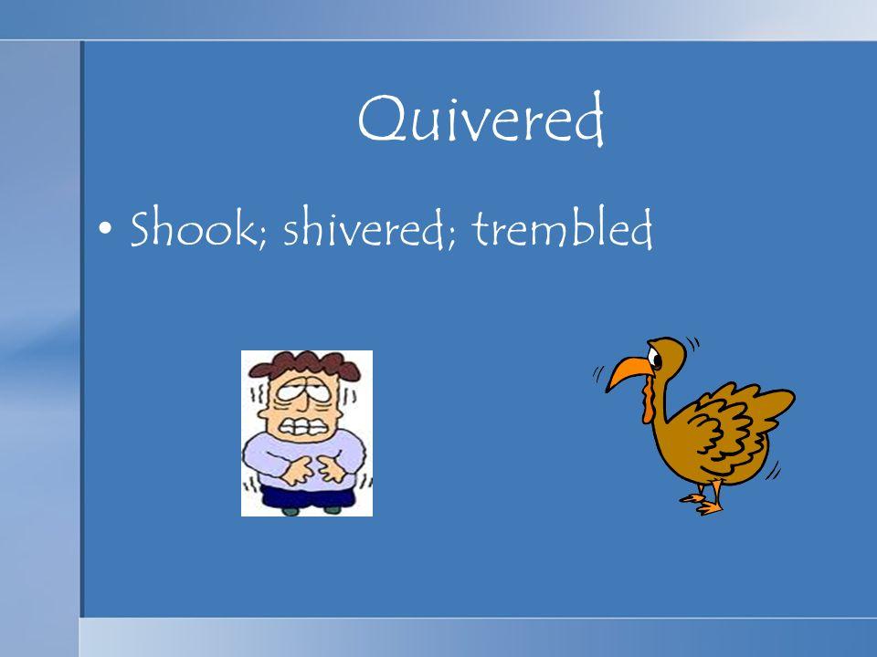 Quivered Shook; shivered; trembled