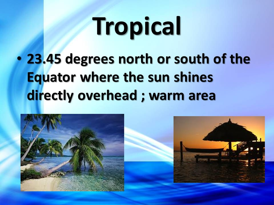 Tropical 23.45 degrees north or south of the Equator where the sun shines directly overhead ; warm area 23.45 degrees north or south of the Equator wh