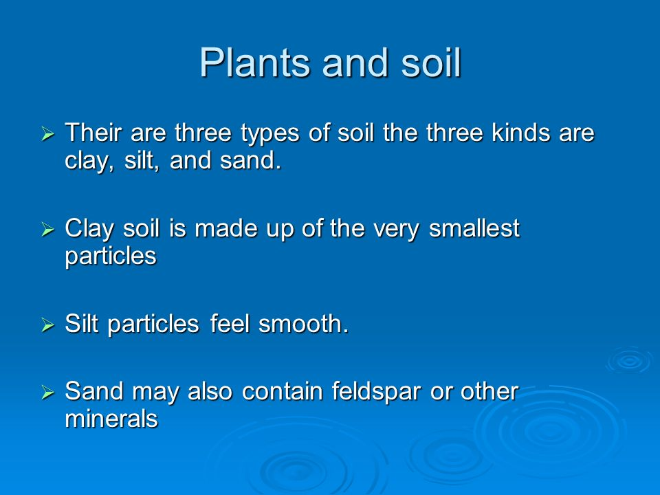 Plants and soil Their are three types of soil the three kinds are clay, silt, and sand. Their are three types of soil the three kinds are clay, silt,