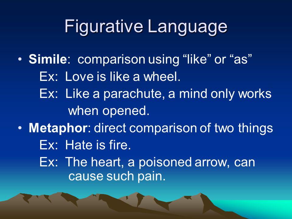 Figurative Language Simile: comparison using like or as Ex: Love is like a wheel.