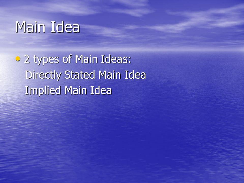 Main Idea 2 types of Main Ideas: 2 types of Main Ideas: Directly Stated Main Idea Directly Stated Main Idea Implied Main Idea Implied Main Idea