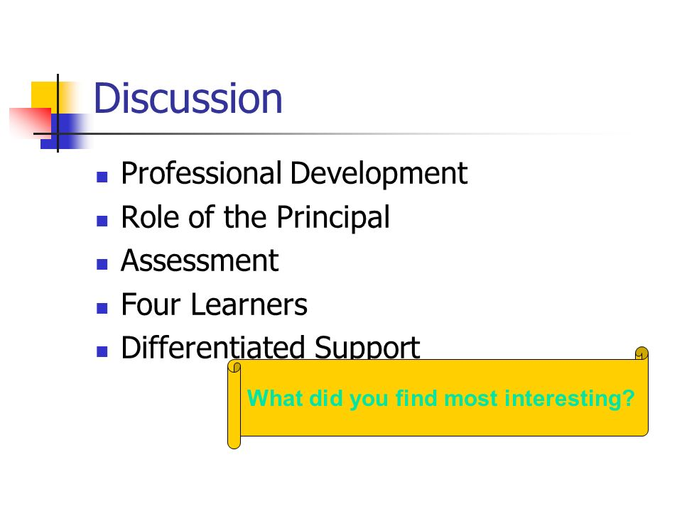 Discussion Professional Development Role of the Principal Assessment Four Learners Differentiated Support What did you find most interesting?