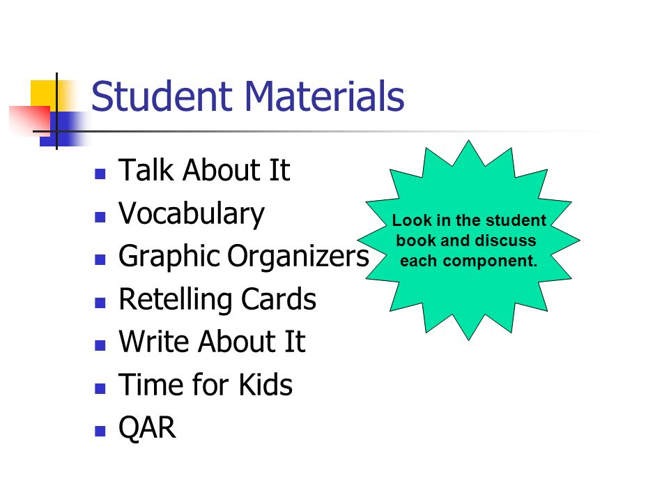 Student Materials Talk About It Vocabulary Graphic Organizers Retelling Cards Write About It Time for Kids QAR Look in the student book and discuss ea