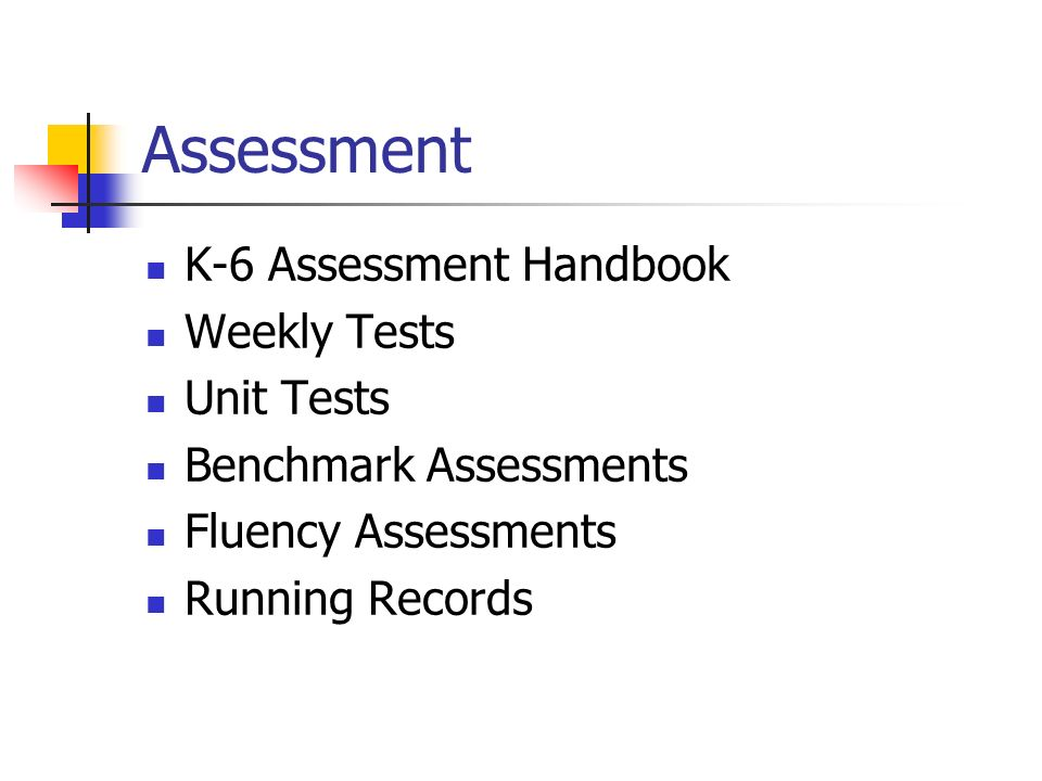 Assessment K-6 Assessment Handbook Weekly Tests Unit Tests Benchmark Assessments Fluency Assessments Running Records